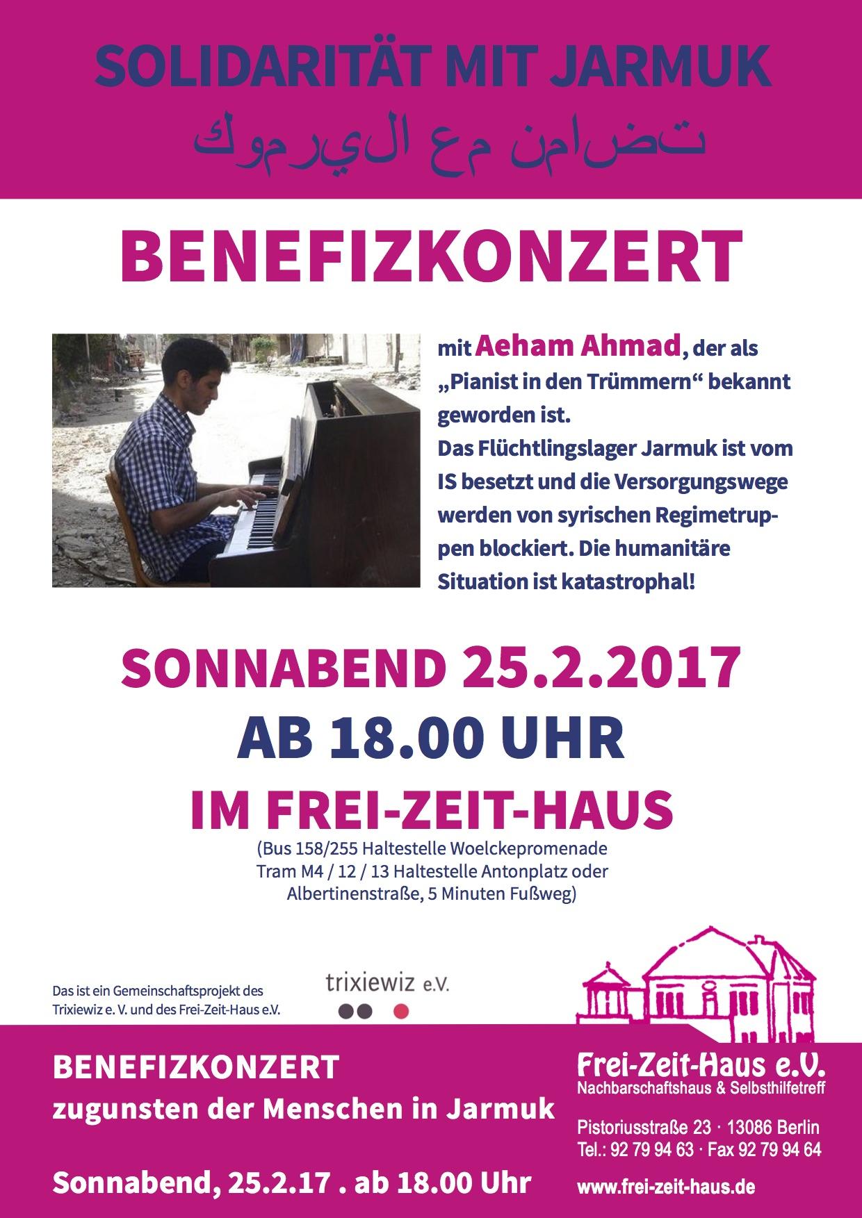 """25. Februar: Benefizkonzert """"Solidarität mit Jarmuk"""" im Frei-Zeit-Haus"""